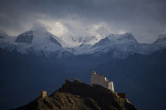 Leh Palace in front of Himalayan. Sunset at Leh Palace, the antique palace of Leh Ladakh Stock Photos