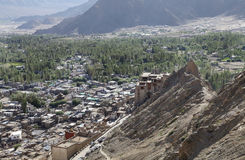 Leh Palace a view from Tsemo monastery Stock Images