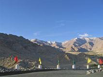 Leh, a protection with tags against mountains. Royalty Free Stock Photos