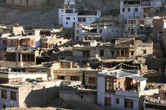 Leh stadsbyggnader, Ladakh, Indien Arkivbild