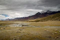 Leh Vallley landscape with dark clouds Royalty Free Stock Photo