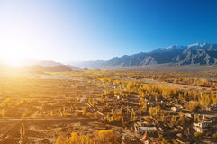 Leh village in sunrise Royalty Free Stock Image