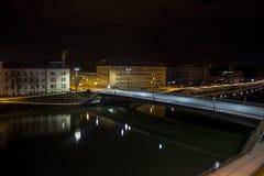 Lehener bridge in Salzburg at night, Austria, 2015 Stock Photo