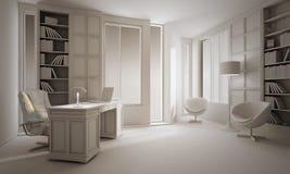 Lehm 3d überträgt von einer Innenarchitektur des Luxuxbüros Lizenzfreie Stockbilder