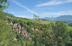 Lehm-Pyramiden, Ritten, Süd-Tirol, Italien stockfotos