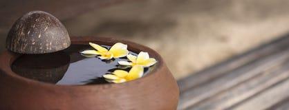 Lehmkrug mit Blume Plumeria oder Frangipani verziert auf Wasser Rollen Sie in der Zenart für Badekurortmeditationsstimmung Stockfotos