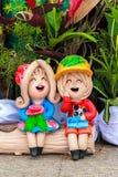 Lehmpuppen für Gartendekoration Stockfoto