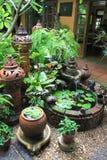 Lehmtonwaren in der Einstellung des botanischen Gartens lizenzfreie stockbilder