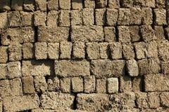 Lehmziegelsteinwand Stockfoto