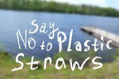 Lehnen Sie Plastikstrohe ab Unscharfer Hintergrund einer Sommerlandschaft mit einem kleinen Fluss, Bäume stock abbildung