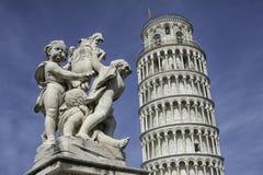 Lehnender Kontrollturm von Pisa Italien Stockfoto