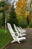 Lehnsessel gegen Herbstholz Stockbild