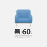Lehnsessel im flachen Design für Wohnzimmerinnenraum Minimale Ikone für Möbelverkaufsplakat Blauer Lehnsessel auf weißem backgrou Stockfotografie