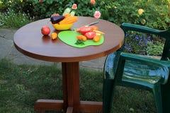 Lehnsessel und Tabelle mit geschnittenen Tomaten und Pfeffern in Garten-PA Stockfotos