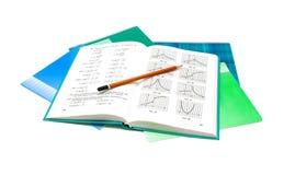Lehrbuch, Bleistift und Notizbuch auf weißem Hintergrund lizenzfreie stockfotografie