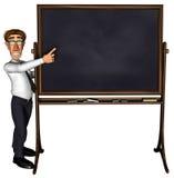 Lehrer 3d, der das Leerzeichen mit 5 Karikaturen unterrichtet Stockfotos