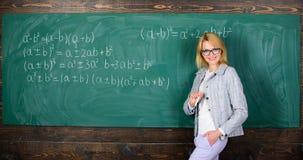 Lehrer auf Schullektion an der Tafel Frau im Klassenzimmer Hausunterricht Glückliche Frau Zurück zu Schule Lehrertag lizenzfreies stockbild