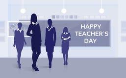 Lehrer-Day Holiday Silhouette-Frauen-Material-Klassen-Brett-Gruß-Karte Lizenzfreie Stockfotografie