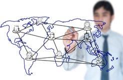 Lehrer, der Sozialnetwork Connection schreibt Stockbild