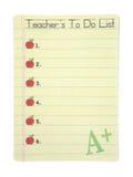 Lehrer-Liste Lizenzfreies Stockfoto