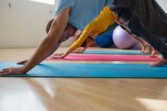 Lehrer mit den Studenten, die abwärtsgerichtete Hundehaltung am Yogastudio üben Stockbilder