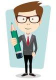 Lehrer mit einem zu korrigieren und zu studieren Bleistift, vector Lizenzfreie Stockfotos