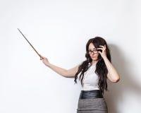 Lehrer mit einer Nadelanzeige Stockfoto