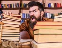 Lehrer oder Student mit Bart sitzt bei Tisch mit den Gläsern, defocused Mann auf schreiendem Gesicht zwischen Stapel von Büchern, Lizenzfreie Stockbilder