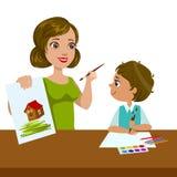 Lehrer Teaching ein Junge, wie man, Volksschule Art Class Vector Illustration malt Lizenzfreie Stockfotos