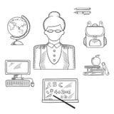 Lehrer und Bildung skizzierten Ikonen Lizenzfreies Stockfoto