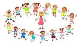 Lehrer und kleine Kinder auf einem Weg Lizenzfreie Stockfotos
