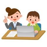 Lehrer und Studenten des Computerlernens lizenzfreie abbildung