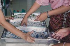 Lehrer und Studenten helfen zum Verpacken thailändischen Kokosnuss munchk stockbild