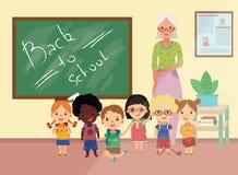 Lehrer und Studenten vector Charaktere vor Klassenzimmer mit Kreidebrett an der Rückseite mit zurück zu der geschriebenen Schule stock abbildung