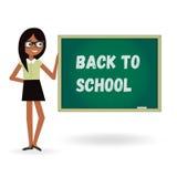 Lehrerfrau zurück zu Schule mit Brett Karikaturschablonenillustration Stockfoto