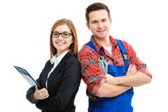 Lehrlinge für Heimwerker und Büro Stockbilder