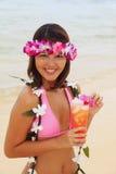 lei девушки цветка polynesian стоковое изображение rf