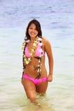 lei девушки цветка polynesian стоковое изображение