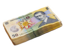 50 Lei banknotes stacked one another Royalty Free Stock Photos