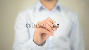 Lei criminal, escrita do homem na tela transparente Fotos de Stock Royalty Free