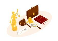 Lei e justiça isométricas ilustração royalty free