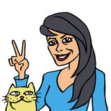 Lei e la sua illustrazione di vettore del gatto Fotografie Stock Libere da Diritti