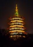 Lei Feng Pagoda Night West Lake Hangzhou Zhejiang China stock afbeelding