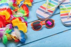 Lei, lunettes de soleil et pantoufles image stock