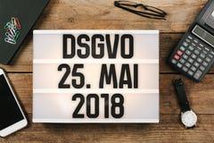 Lei nova geral alemão do regulamento DSGVO da proteção de dados em 201 Imagens de Stock Royalty Free