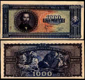 1000  Lei 1950 Old Romanian Bill Royalty Free Stock Image