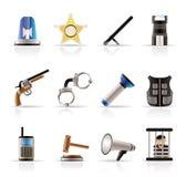 Lei, pedido, polícia e ícones do crime Fotografia de Stock