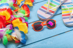 Free Lei, Sunglasses And Slippers Stock Image - 43138041