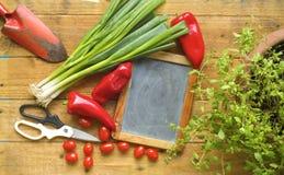 Lei voor recepten, verse groenten Stock Foto