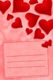 Leia corações e cartão Fotografia de Stock